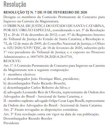resolução TJ SC concurso magistratura